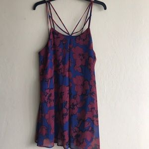 Navy and red floral dress.